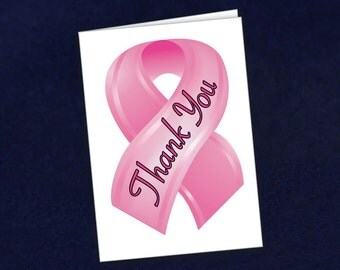Pink Ribbon Thank You Cards - Small (12 Cards) (STY-01)