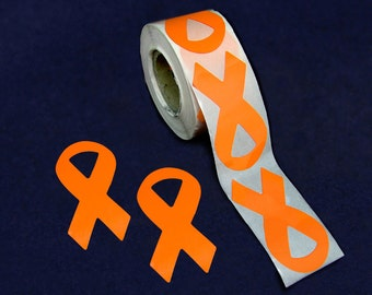 250 Large Orange Ribbon Stickers - 250 Stickers (ST-02-5)