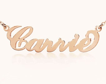 Solid Rose Gold Carrie Style Name Necklace  Personalized 14kRose Gold Nameplate Name Jewelr