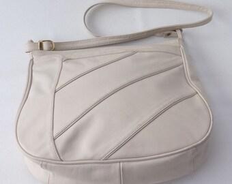 Vintage 70s Cypress Soft Leather White Cream Handbag Shoulder Satchel Bag