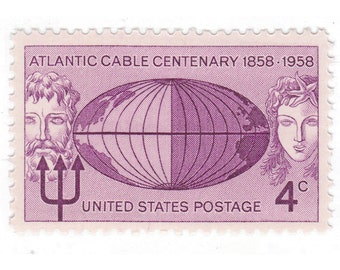Qty of 10 - Unused 1958 Vintage Postage Stamp - Atlantic Cable - No. 1112