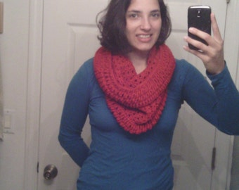 Crochet Cherry Red Stacked Shell Cowl or Shrug. Perfect for Fall and Winter!