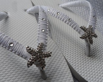 White Macrame Flip Flops / Bridal Starfish Rinestone / Bridal Sandals / Wedding Shoes / Bridesmaids Flip Flops..