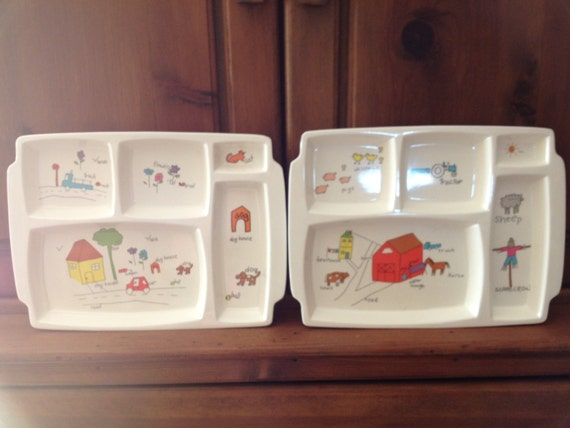 Anacapa Melamine Ware Childs Dinner Tray set of Two