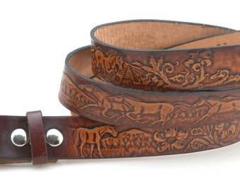 Leather Belt. BT111  Horse scene  -  Includes utility buckle & leather keeper