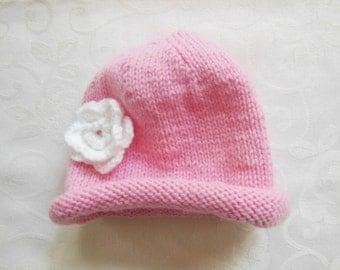 Pink rolled brim baby hat