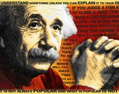Albert Einstein and Quotes Gold and Red - Giclee Print
