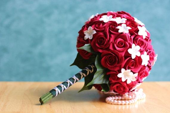 Favorito Articoli simili a Rose rosse Bouquet da sposa con Stephanotises  AB64