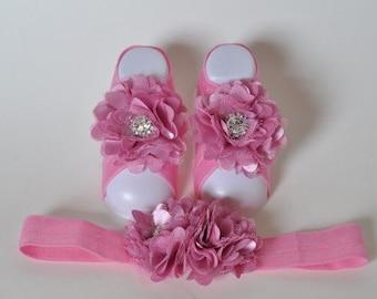 Mauve Baby Barefoot Sandals with Chiffon Flower and Rhinestone Center with matching headband