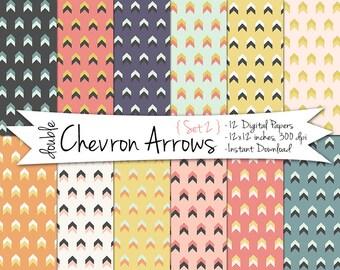Tribal Arrows Digital Paper // Printable Geometric Paper // Chevron Arrows