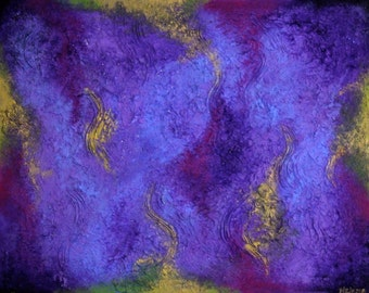 Medium Sized Abstract Acrylic Painting in Purple and Gold on Canvas with Frame