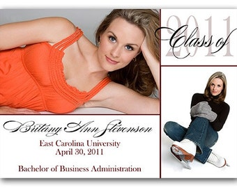 GRADUATION Commencement Two Photo Announcement Invitation Printed or Digital FREE SHiPPiNG