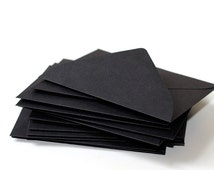 "25 Mini Black Envelopes - 2.6875 x 3.6875 inches (2 11/16"" x 3 11/16"") - Guest Book Envelopes, Favor Envelopes, Placecard Envelopes"