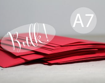 """SALE - BULK! 100 A7 Bright Holiday Red Envelopes - 5x7 inches (true size 5 1/4"""" x 7 1/4"""") - A7 Red Envelopes - Christmas Card Envelopes"""