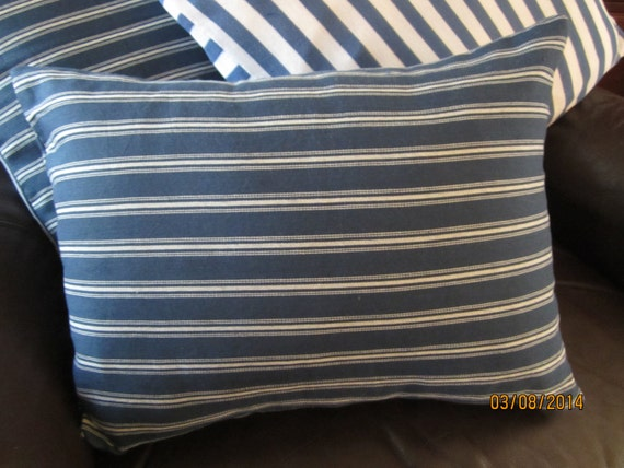 Navy blue and white woven ticking stripes pillow MODA fabric 12x16""