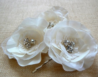 Ivory bridal flower hair clips, bridal hair flowers, bridal hair clip, wedding hair flower, bridal hair piece , READY TO SHIP