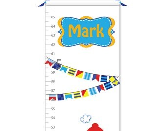 Growth Chart - Personalized Growth Chart - Nautical Growth Chart - Lighthouse Growth Chart - Sailboat Growth Chart - Boy Growth Chart