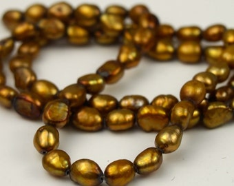 Gold Freshwater Pearls Rice Shaped