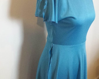 Vintage 70s Disco Dress in Turquoise Blue