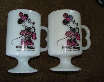 Vintage Minnie Mouse Fire King Pedestal Coffee Mugs