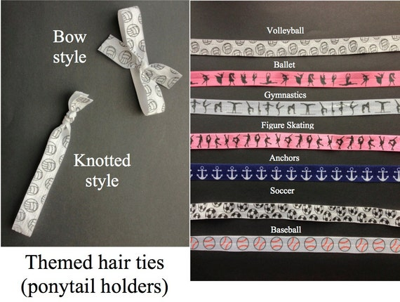 Themed elastic hair ties (ponytail holders) - bow or knotted - sets of 6 or 12 - great birthday party favors