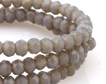4 mm Grey Gray Opaque Crystal glass Rondelle Faceted Beads - about  70 pcs (C4084 - FikaSupplies)