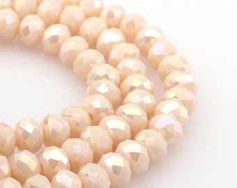 6mm Light Peach Opaque AB Crystal glass Rondelle  Faceted Beads - about 45pcs (C6081 - FikaSupplies)
