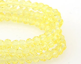 3mm Light Yellow Transparent Crystal glass Rondelle Faceted Beads - about 70pcs  (C3041- FikaSupplies)