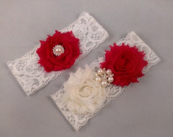Red Lace Garter Set, Lace Wedding Garter, Lace Bridal Garter, Plum Garter