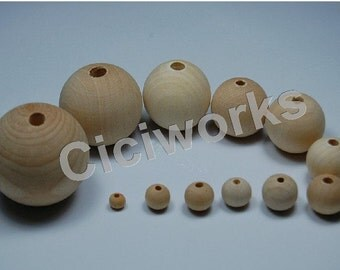U Pick! 20pcs 25mm/30mm Natural Wooden Round Beads GD50WB65