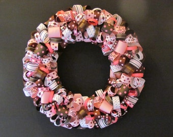 Pink and Brown Polka Dots Ribbon Wreath