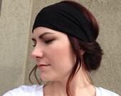 Black Headwrap, Wide Headband, Women's Headwrap, Workout Headband, Yoga Headband, Stretchy Headwrap, Black Headband