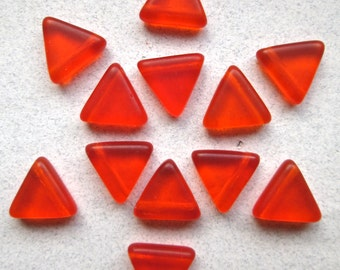 12 Vintage Glass Frosted Orange Triangle beads