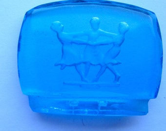 The Three Graces Vintage Blue, Green or Pink Glass Canochon, place setting holder
