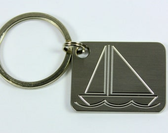 Stainless Steel Keychain- Sailboat