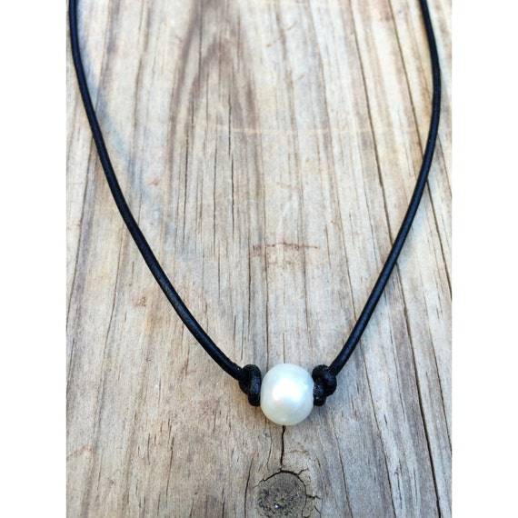 FREE SHIPPING on Pearl Leather Necklaces. by LittleWaysGifts