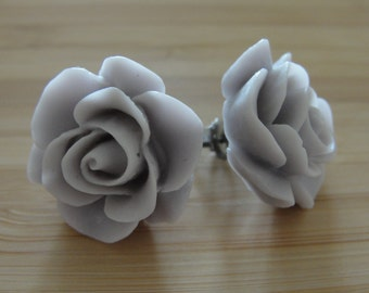 Large Grey Flower Earrings