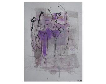 Akt - Original Zeichnung beigem Künstlerpapier - mit Bambusfeder - farbige Tuschen - kostenloser  Versand lila grau gold