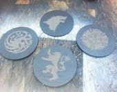 Game Of Thrones Slate Coasters - House Logos Lannister, Stark, Tyrell, Targaryen - Gift, Man Cave, Geekery - Set Of 4 Laser Engraved - UK