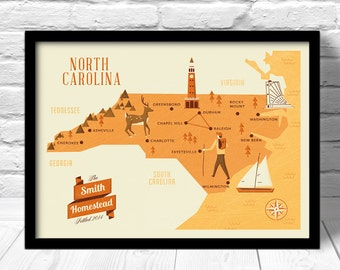 North Carolina  Map, Personalized Family name, Custom Map, Home State Map, north carolina, custom travel map,custom family map