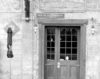 Digital Photography,#023,CAFE,architecture wall art,vintage door,Montreal photography,black and white,photographic print,wall art,art print