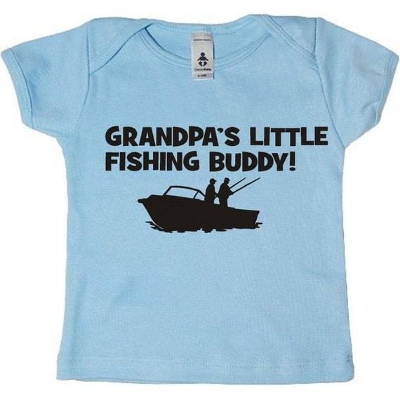 Grandpa 39 s little fishing buddy grandson baby infant black for Fishing shirt of the month