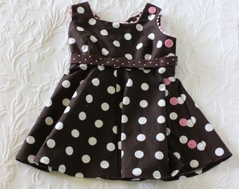 2T · Vintage Brown & Pink Dress · Polka Dots, Ric Rac