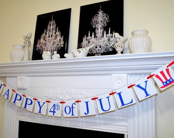 Happy 4th July banner red white blue Patriotic decoration, Americana decor, 4th July party decor, red white blue garland