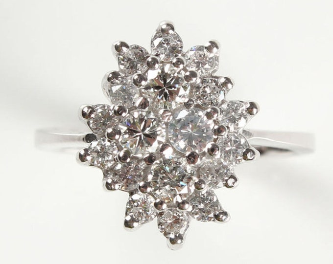 0.5 carat Vintage engagement ring diamond, Solitaire 14K White Gold Ring, 1/2 Carat, Women Jewelry, engagement ring setting