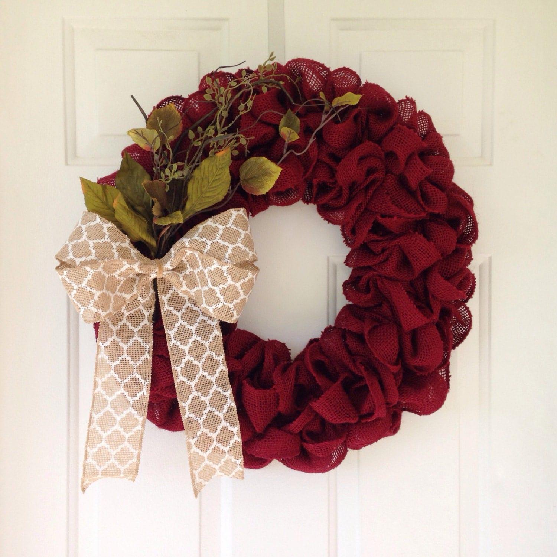 Burgundy Rustic Christmas Burlap Wreath By Simplecountryburlap
