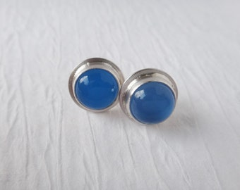 Blue Stone Stud Earrings, Blue Chalcedony Sterling Silver Stud Earrings, Gemstone Stud Earrings, Post Earrings, Everyday Earrings