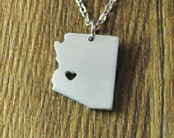 Arizona map necklace,heart state necklace,Custom Arizona map jewelry, Personalized state pendant, Custom state charm
