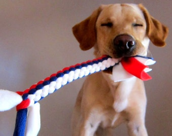 Fleece Tug Toy for Dogs in Patriotic Red, White and Blue Colors Large Size