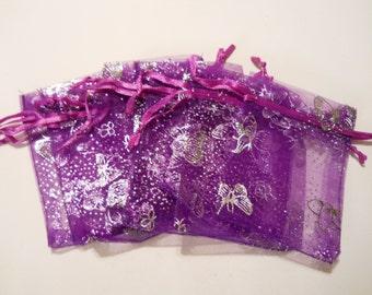 25 Organza Bags 2.75 x 3.5, Purple Organza Bag,Gift Bag, Drawstring Bag, Sheer Organza, Favor Bag, Supplies, Sheer Bag, Elegant Jewelry Bag